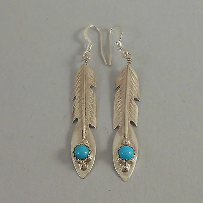 Dry Creek Turquoise and Fresh Water Pearl  Feather Earrings by Erick Begay AM50O