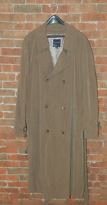 46 L Classic Green Brooks Brothers Trench Coat Removable Wool Liner Belt