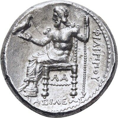 Lanz Kingdom Of Macedon Philip Arrhidaios Tetradrachm Zeus Eagle Herakles»Gx4428