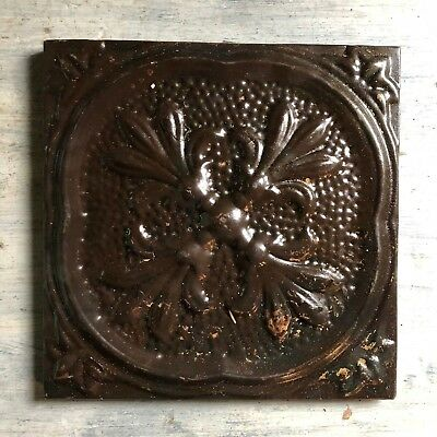 "11"" x 11 Antique Tin Ceiling Tile Wrapped Frame Rust Metal 485-18"