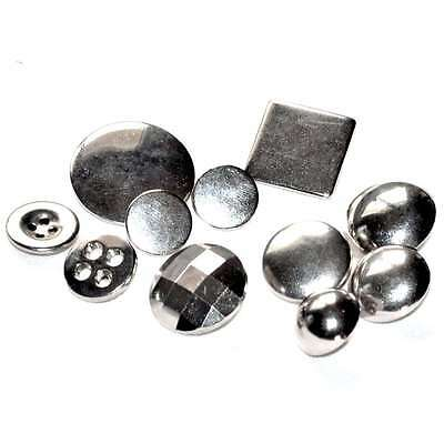 Mercerie lot de 11 boutons argentés variés 26mm à 14mm button
