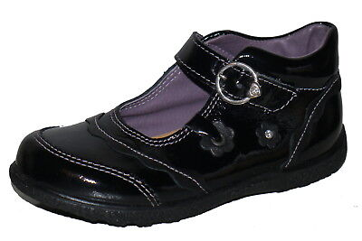 Ricosta Black Patent Leather Little Girls Shoes UK 7.5 EU 25 NWOB