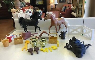 Vintage Lot Grand Champions 2 Toy Horses, Saddles, Trophies, and Accessories