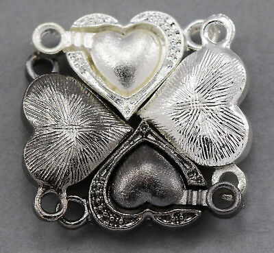 5x Silver Plated Strong Magnetic Heart Clasps for Jewellery Making 12mm