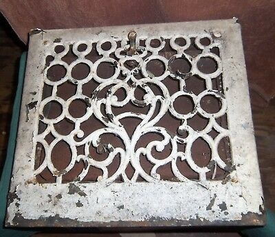 "Antique Victorian  Metal 15"" X 13"" Shaby Chic Floral Heating Grate Vent--Lot F"