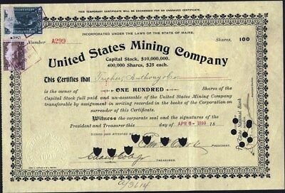 United States Mining Co, 1899 Stock Certificate