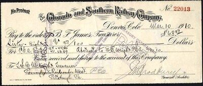 Colorado And Southern Railway Co, Denver, Co, Payment Voucher, 1910