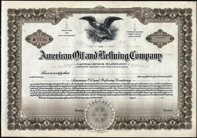 """American Oil And Refining Co, Unissued, Crisp Am. Bank Note Co """"steelograph"""""""