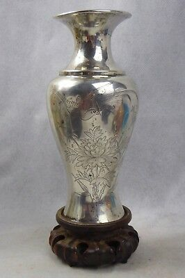 Chinese Antique Solid Silver Baluster Vase & Stand - Bird Design Qing Hallmarked