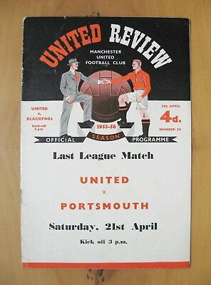 MANCHESTER UNITED v BLACKPOOL 1955/1956 *Excellent Condition Football Programme*