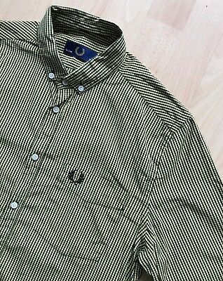 FRED PERRY LONG SLEEVE BLACK & YELLOW GINGHAM CHECK SHIRT S/M mod casuals weller