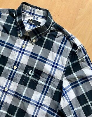 FRED PERRY LONG SLEEVE BLUE & WHITE CHECK SHIRT M mod casuals classic weller ska