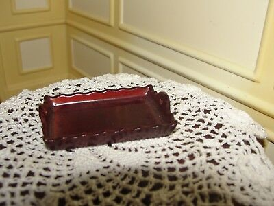 Dollhouse Miniature Mahogany Scalloped Edge Tray