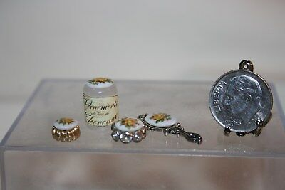 Miniature Dollhouse 4 Pc Dresser/Vanity Set Hand Mirror Jars w Yellow Rose 1:12