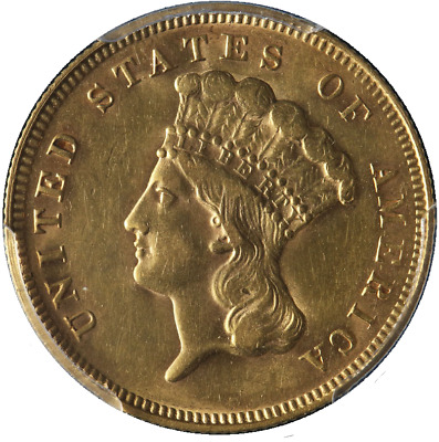 1878 Indian Princess Gold $3 PCGS AU55 Great Eye Appeal Nice Strike