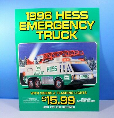 Hess Gasoline 1996 Collectible Dealer's Poster Sign for Emergency Truck