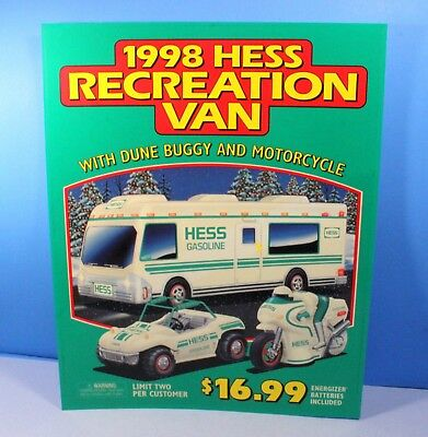 Hess Gasoline 1998 Collectible Dealer's Poster Sign for Recreation Van