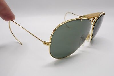 38214a2fa0 NICE Vintage Ray Ban B L 62mm Yellow Shooter Bullet Hole Sunglasses Gold  8824