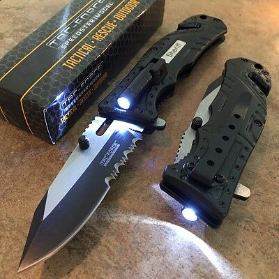TAC-FORCE Black SHERIFF Spring Assisted Open LED Tactical Rescue Pocket Knife t