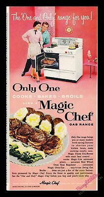 "Print Ad~1955~Magic Chef Gas Range~Couple~Vivid~Bright~""One and Only""~Color~I100"