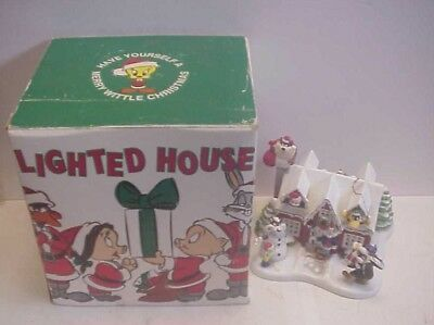 Vintage 1995 1st Edition WB Studio Looney Tunes Christmas LIGHTED HOUSE w Box