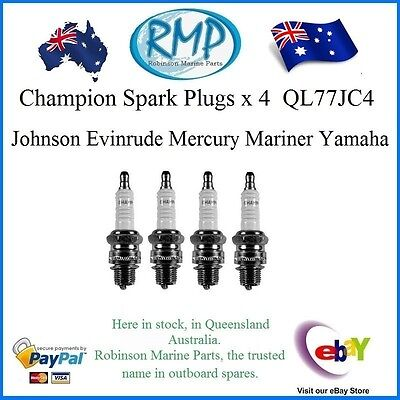 A Brand New Set Of 4 QL77JC4 Spark Plugs Yamaha Evinrude Mercury Johnson Mariner