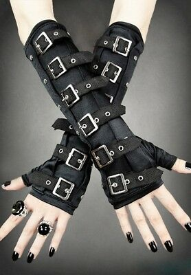 RESTYLE Gothic Steampunk Punk Metal Long Arm-warmers w/ Buckles GLOVES : Black