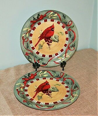 Lenox Winter Greetings Everyday CARDINAL Dinner Plate Duo Catherine McClung