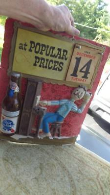 """1965 Pabst Blue Ribbon Beer 3-D Sign with Attached Calendar Has Wear 14x18"""""""
