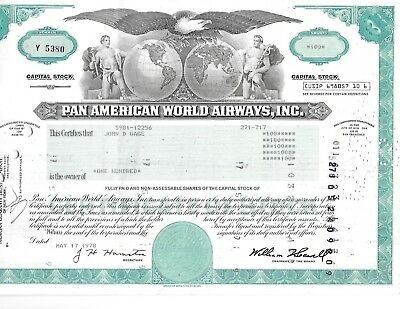 1978  Pan American World Airways Stock Certificate  100 Shares  NICE !