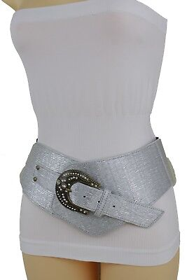 Femme Argent Simili Cuir Large Occidental Ceinture Mode Grand Perles Boucle 5f10f42044a