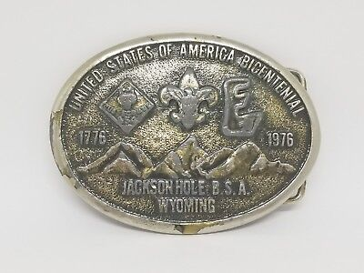 Boy Scouts Bicentennial Belt Buckle 1776-1976 Jackson Hole B.S.A. Wyoming