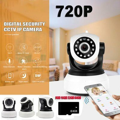 Wireless 720P Pan Tilt IP Camera Night Vision WiFi Security Webcam Baby Monitor