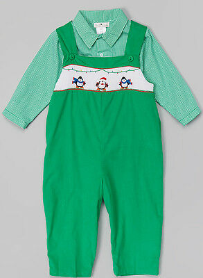 NEW Petit Ami BABY Boys Size 12 Months Green Smocked Penguin 2PC OUTFIT 12M
