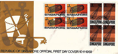 SINGAPORE  - Musical Instruments 1969 First Day Cover