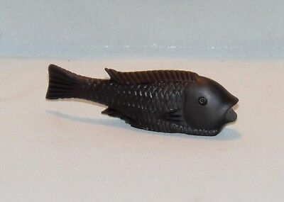 Vintage, Hand Carved Ebony, Fish Snuff Box.