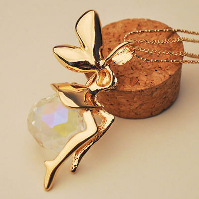 Women Fashion Crystal Fairy Angel Wing Pendant Long Chain Sweater Necklace Gifts