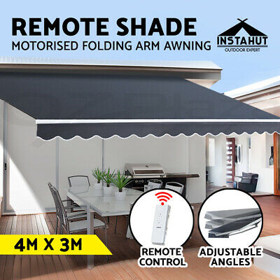 Instahut Motorised Folding Arm Awning Remote Retractable Outdoor Sunshade 4X3M