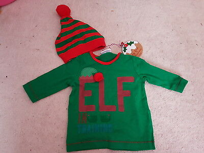 Boys Next Baby ELF IN TRAINING Green/Red Top w/Matching Hat (up to 3 mths) *NEW*