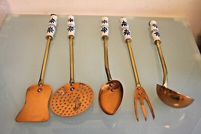 5 French  Copper & Brass with Ceramic Handles Utensils 14'' (35 1/2cm) Long Appx