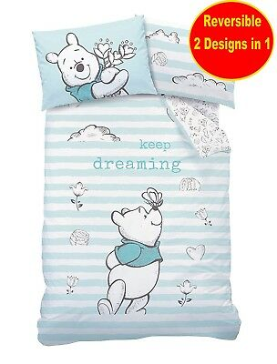 Official Winnie The Pooh Single Duvet Quilt Cover Set Boys Girls Kids Blue Bed