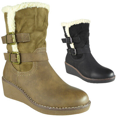 63e0ab15ad5 New Womens Ladies Wedge Heel Zip Mid Calf Buckle Boots Casual Winter Shoes  Sizes