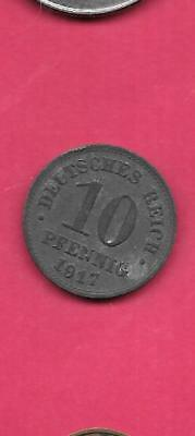 Germany German Km20 1917-A Vf-Very Fine-Nice Old Antique Iron 10 Pfennig Coin