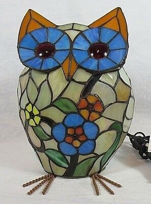 BOLD COLOR Tiffany Style OWL Accent Lamp IOB Originally From Cracker Barrel