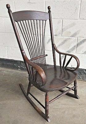 Early Antique Victorian / Edwardian - Elm / Beech Rocking Chair Stained Darker