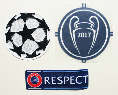 Uefa 2017 Champions League Winners Badge + Uefa Respect Badge + Starball Patch