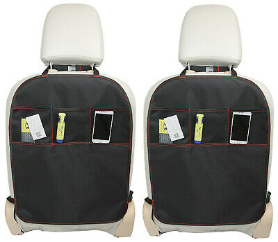 2 x KICK MAT CAR SEAT PROTECTOR COVER 3 MESH POCKETS TOY STORAGE ORGANISER KIDS