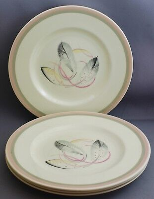 4 Susie Cooper Luncheon Plates-Grey & Pink Feather Design. L 917
