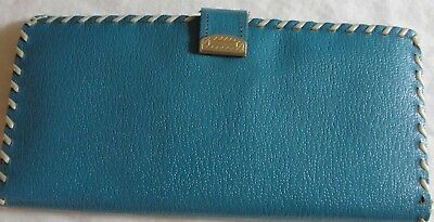 Vintage Blue Leather Beautiful Wallet Saddle Pigskin