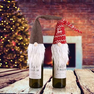 Weihnachten Gnome Tomte Santa Weinflasche Tasche Cover Dinner Table Party Decor